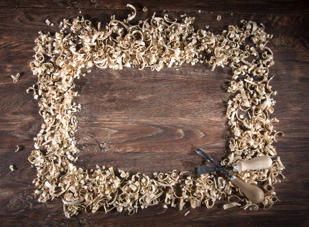 wood shavings: Workplace carpenter. Wood and a few tools