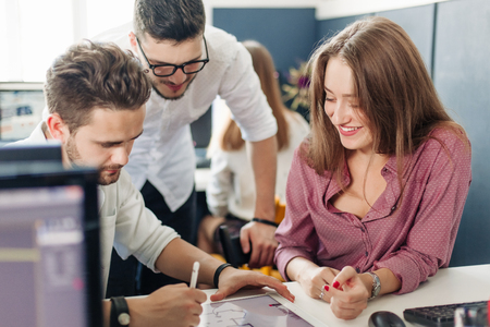 Team of architects working in office Stock Photo