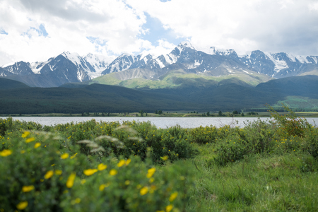 Majestic mountain lake in Altay with mountain. Stock Photo