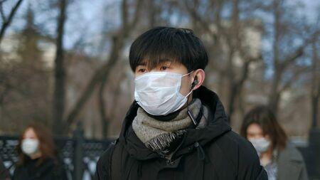 Corona Virus Flu Asia. Wearing Respiratory protection Face Masks Korea. Korean City Street Crowd Walk real. Asian Covid-19 Coronavirus Mers. Chinese People. Lockdown 2019-ncov China. Covid19.