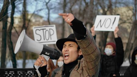 Man Screaming Loudspeaker. Corona Virus China. Asian Crowd People. Respiratory Face Mask. Rebel Protest. Strike Out. Asia Coronavirus Mers. Megaphone Shouting. Chinese Revolution public. Covid-19.