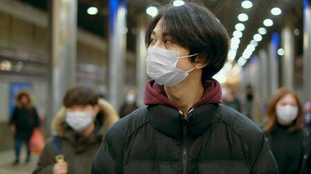 Asian Man Walk Portrait. Corona Virus Mers Covid-19. Fear Flu Air. Environment Pollution Smog. Protective Masks Asia. Coronavirus.