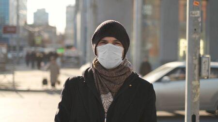 Europe infected corona virus 2019 ncov. European man Portrait. Mask for covid-19. City street. Epidemic coronavirus. Pandemic flu corona virus. Human masked for 2019-ncov. Crowd people sick covid-19.