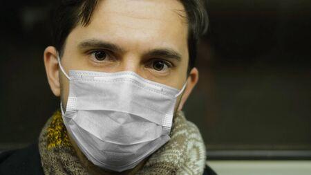 Corona Virus. Man in Face Mask Covid-19. Subway Station. Epidemic Coronavirus Mers. Pandemic Flu. Human Masked 2019-ncov. Train Metro Tube People. Male Health Care. Smog Air Filter.