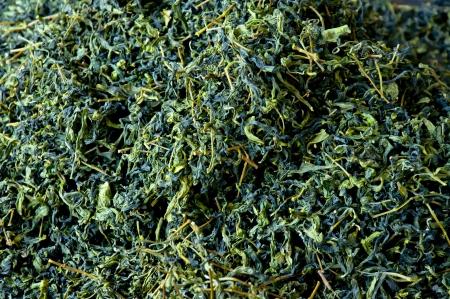 green tea loose dried tea closeup photo