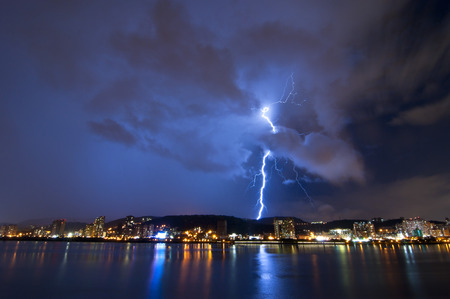 Night lightning storm the banks in Taiwan