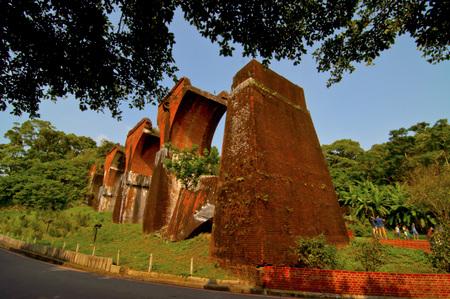 superstructure: Old red brick broken bridge