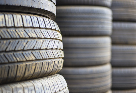 landfill site: Closeup of used tires Stock Photo