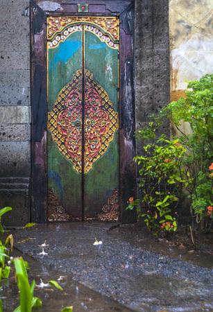 Bali style wooden door