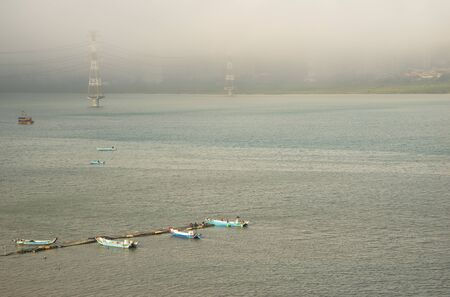 Blue fishing boats on the sea Standard-Bild