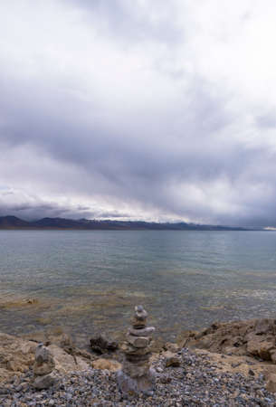 Namtso Lake and the lakeside scenery Standard-Bild