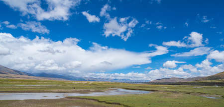The scenery of Tibet under the blue sky and white clouds