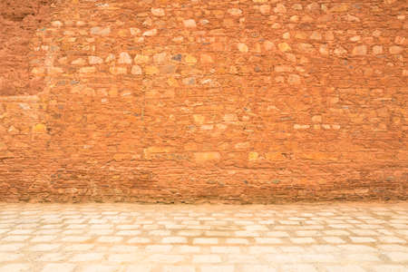 old stones bricks pink under the sunlight