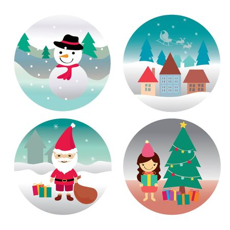Santa claus , Girl , Snowman and home , Christmas characters illustration