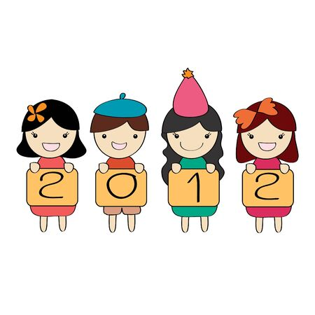Cute children group with 2012 new year letter , cartoon illustration illustration