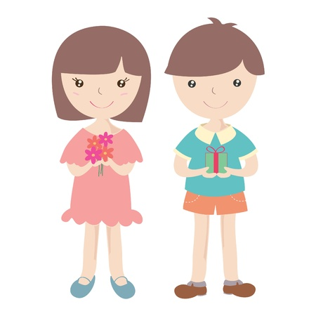 Cute girl and boy with gift box , Cartoon illustration Stock Photo