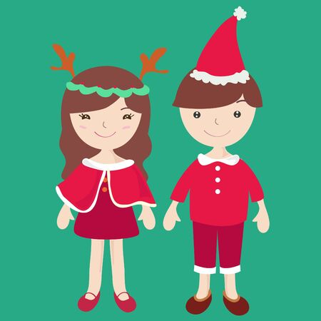 Boy and Girl in Santa claus costume , Cartoon illustration