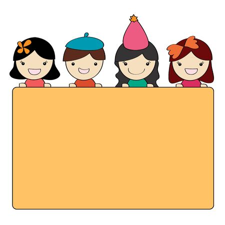 Cute children group with blank message board , Cartoon illustration illustration