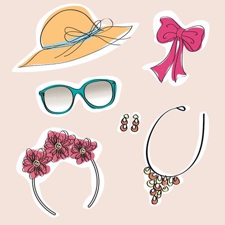 hairdress: Set of woman accessories , Cartoon illustration