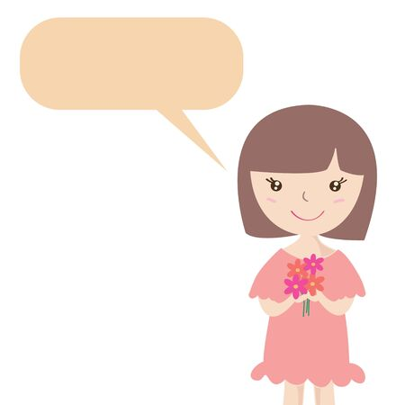 Cute girl with flower and speech bubble , Cartoon illustration