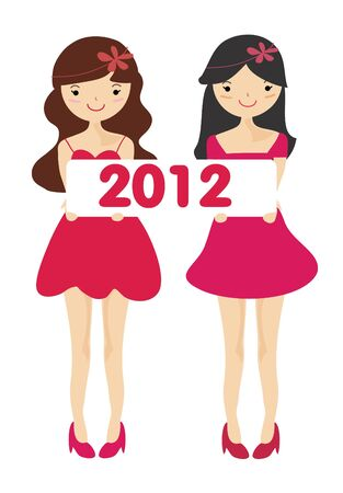 Cute girls with 2012 new year letter , Cartoon illustration