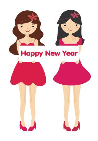 Cute girls with Happy new year letter board , Cartoon illustration