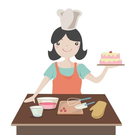 Woman preparing christmas cake , Cartoon illustration