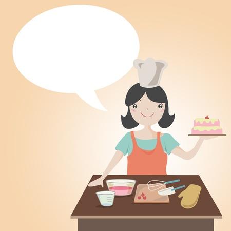 Woman preparing christmas cake with speech bubble , Cartoon illustration