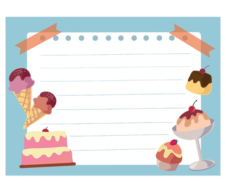 Cake and ice cream frame background , Cartoon illustration illustration