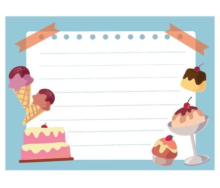 christmas cake: Cake and ice cream frame background , Cartoon illustration Stock Photo