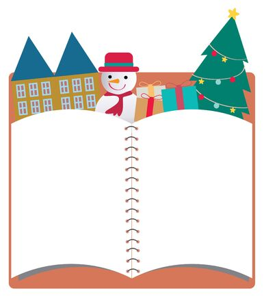 Blank christmas notebook background , Cartoon illustration illustration