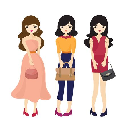 Fashion Girl And Woman Cartoon vector Illustration Illustration