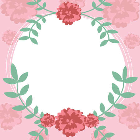 Flower and leaf frame background vector illustration