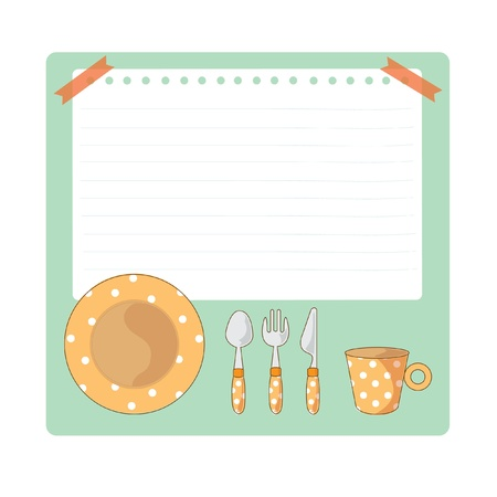 Tableware And Notepad Cartoon vector Illustration Illustration