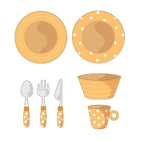 Tableware Objects Cartoon vector Illustration