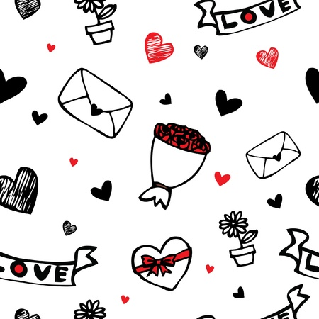 Hearts and flower symbol cartoon seamless vector background for valentine day