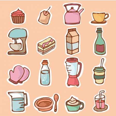 Keukengerei voor het koken of het bereiden van voedingsmiddelen en dranken, Cartoon vector illustratie voorwerpen