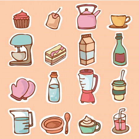 Kitchenware for cooking or preparing foods and drinks, Cartoon vector illustration objects