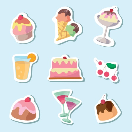Set of cake and desserts, Cartoon vector illustration Vector