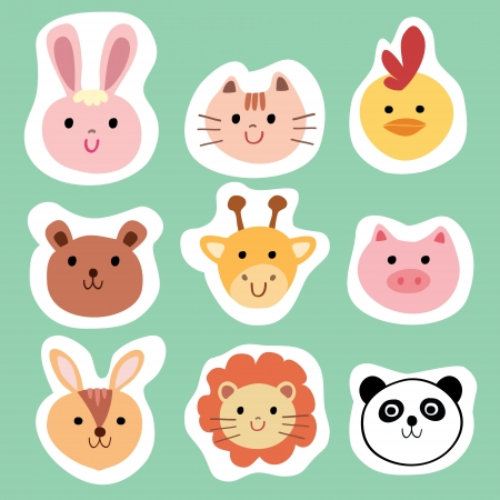 Set of colorful cute animals and pets, Cartoon vector illustration