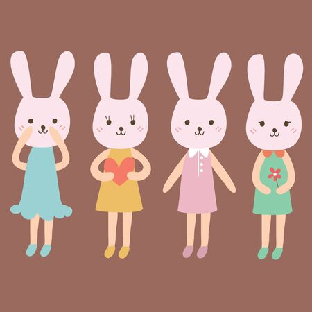 Rabbit cartoon in a different clothes, Vector illustration Illustration