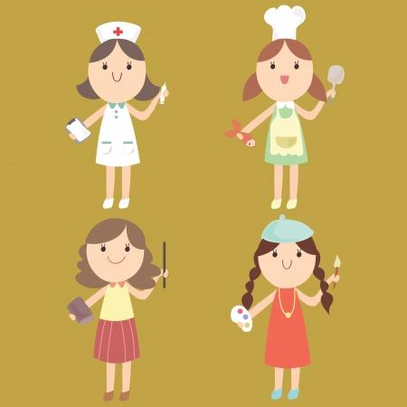 educadores: Linda chica en una variedad de puestos de trabajo enfermera, cocinero, profesor, artista, dibujos animados ilustraci�n vectorial Vectores