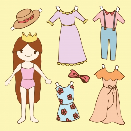 Cute girl paper doll set, Cartoon vector illustration