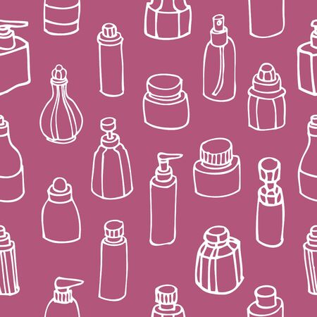 Seamless pattern of perfume bottle and cosmetic, Vector background illustration