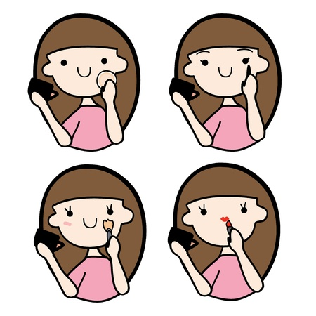 Cute girl doing make-up, Cartoon vector illustration Illustration
