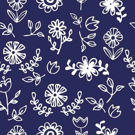 Seamless pattern of white flower, Vector illustration background