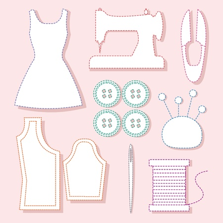 Set of sewing tools symbol on pink background, vector illustration Illustration