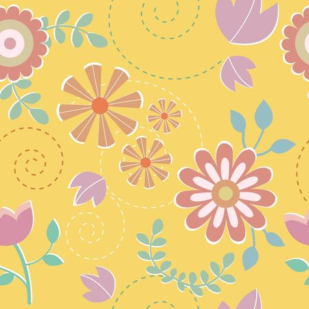 Seamless pattern of colorful flower vector illustration background