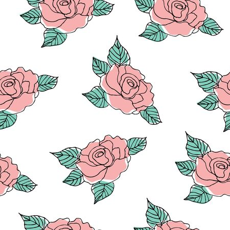 Seamless pattern of roses vector illustration background 일러스트