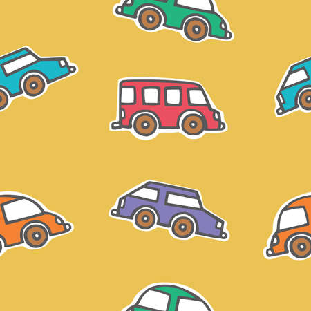 Seamless pattern of colorful cars, Cartoon vector illustration Illustration